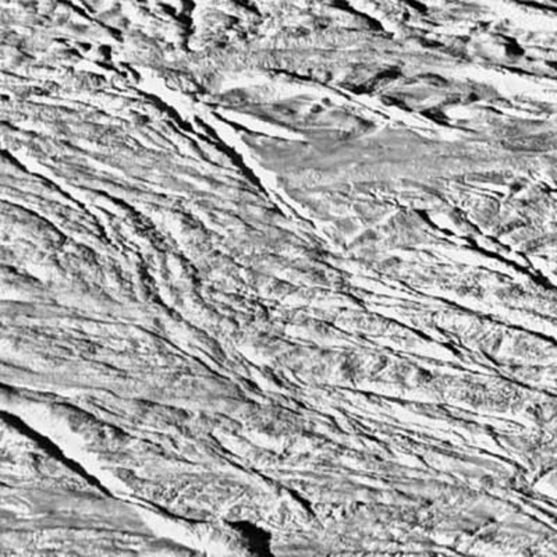 Wide-angle camera view of surface of Enceladus