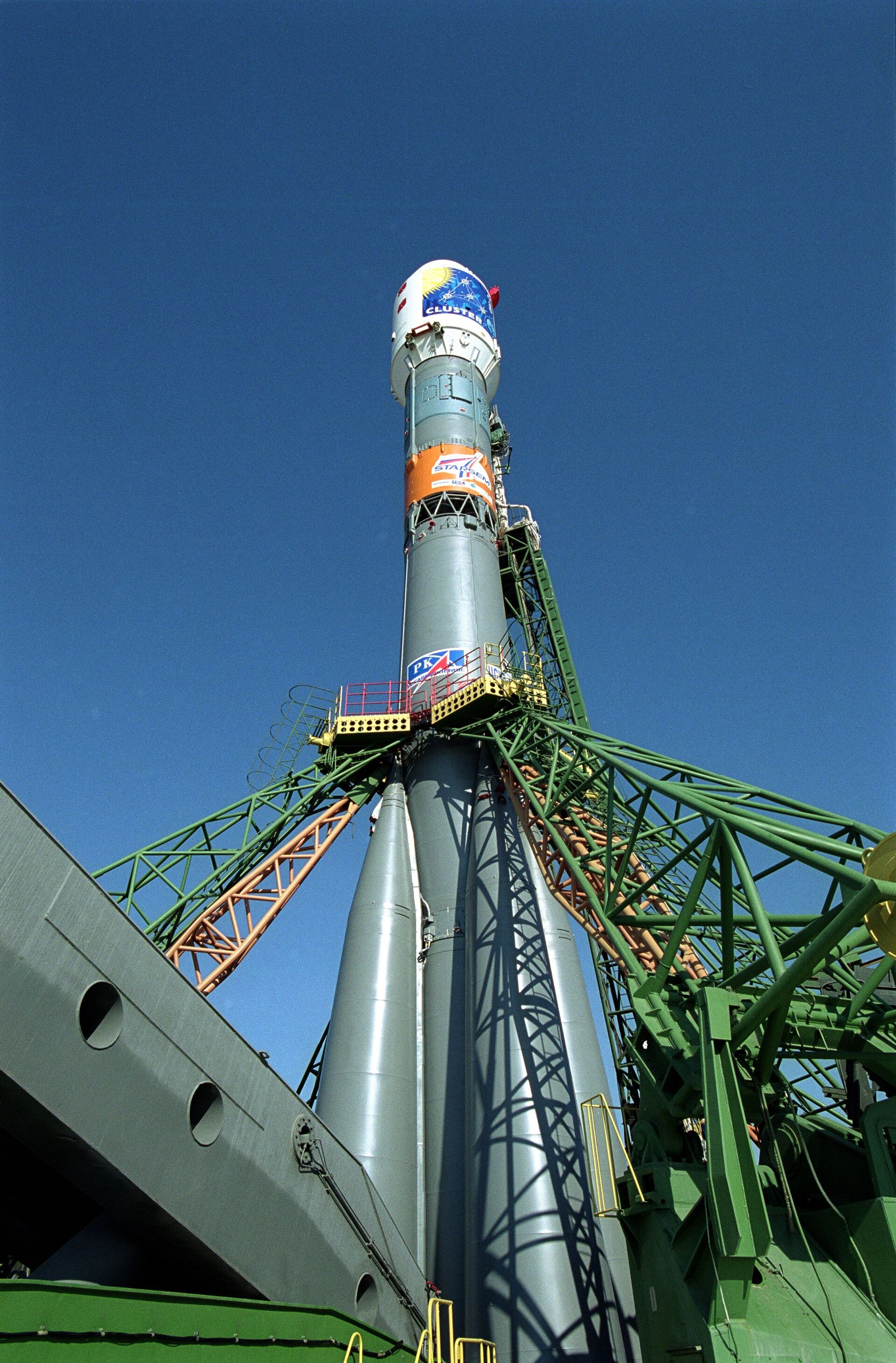 A Soyuz-Fregat launcher on the launch pad
