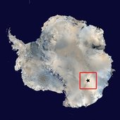 Map of Antarctica showing Dome-C and Concordia Station.