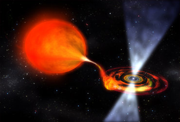 Artist's impression of a pulsar 'eating' a companion star