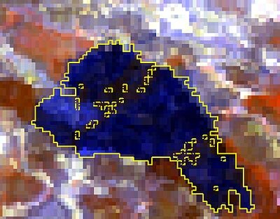 Burned-area perimeter detected in MERIS image