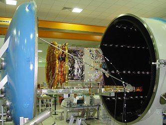 GSTB-V2/B payload module enters the vacuum chamber