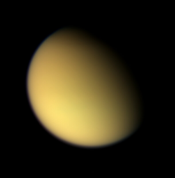 Natural colour view taken on approach to Titan