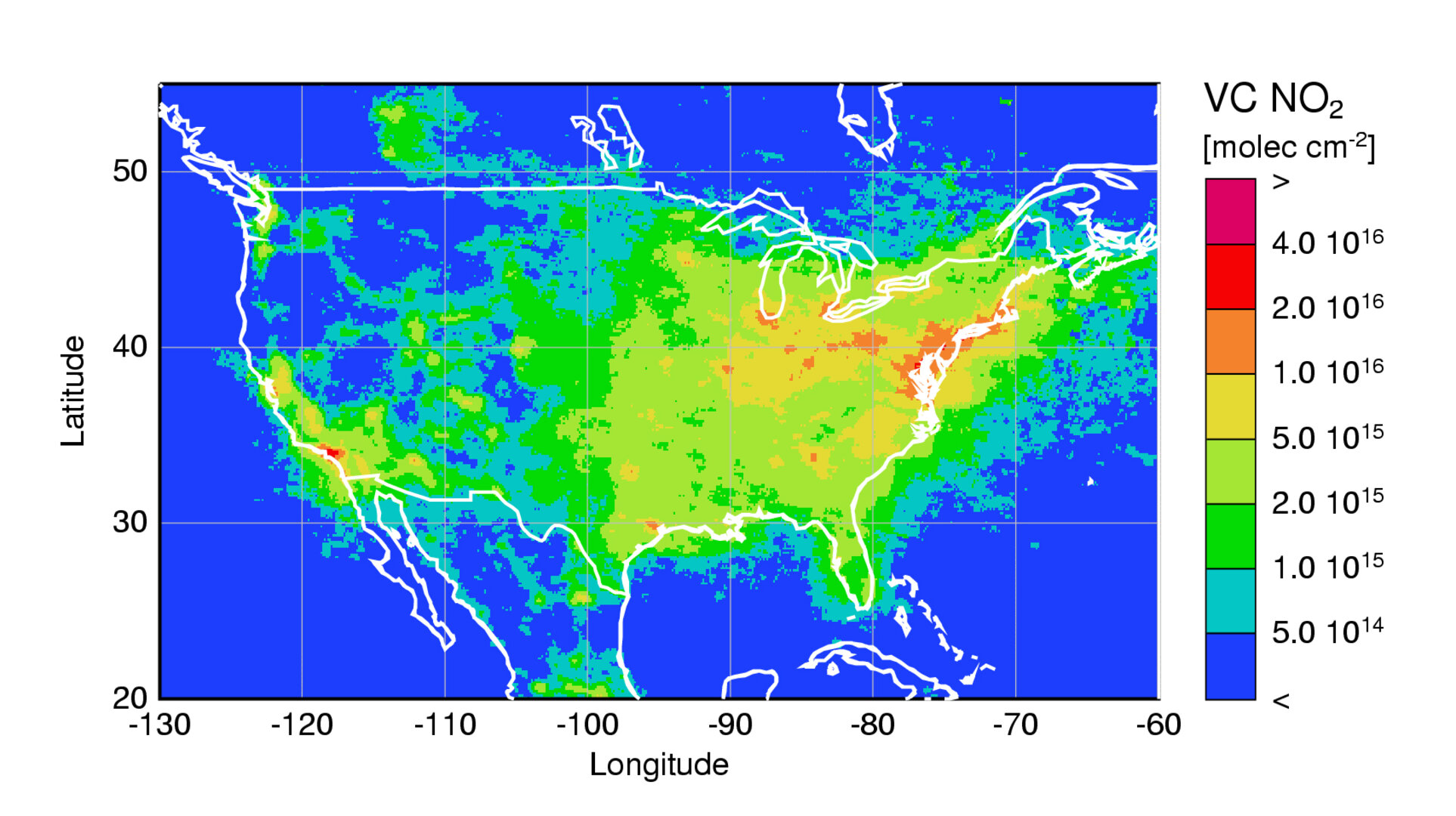 Nitrogen dioxide over the United States