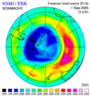 Ozone forecast for 1 September