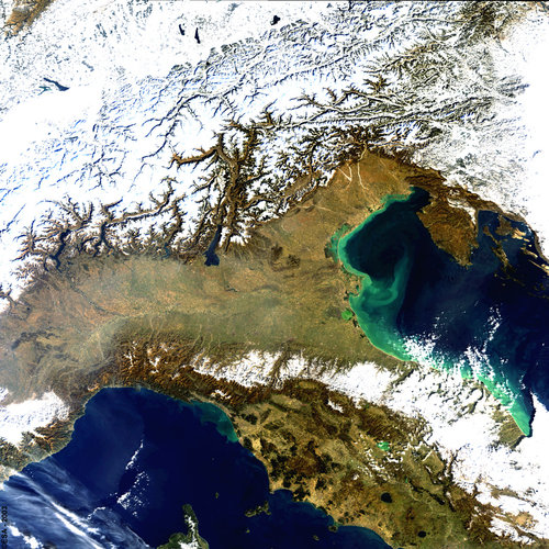 Alps and Northern Italy as seen by Envisat