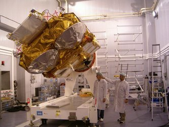 CryoSat is secured on the multipurpose trolley