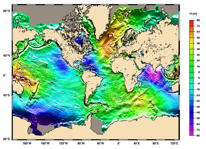 Space In Images Global Mean Sea Surface Height From - Altimeter map