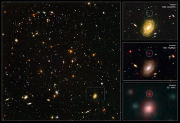 Hubble Ultra Deep Field with the galaxy HUDF-JD2 at lower right