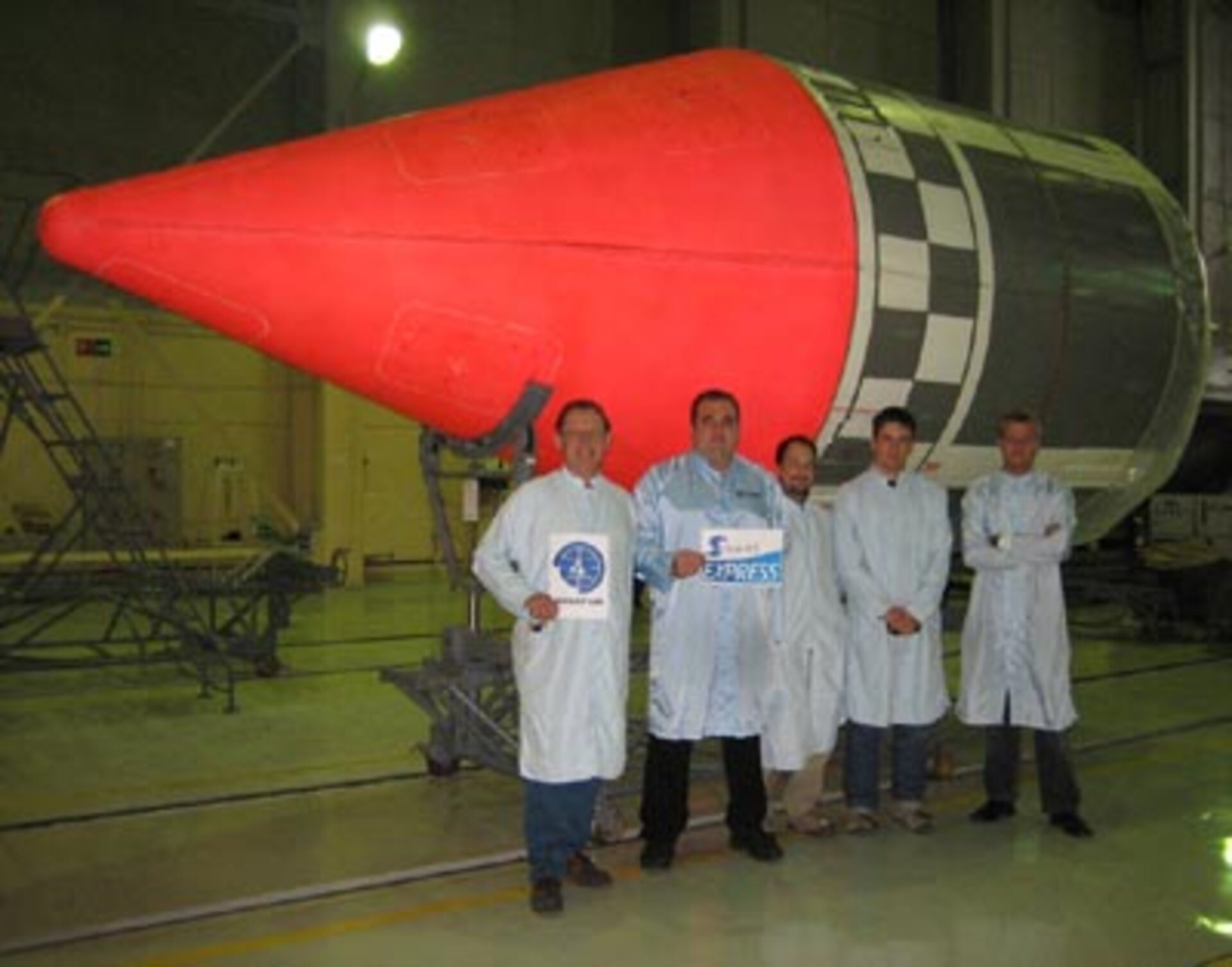 The launch team in front of the rocket