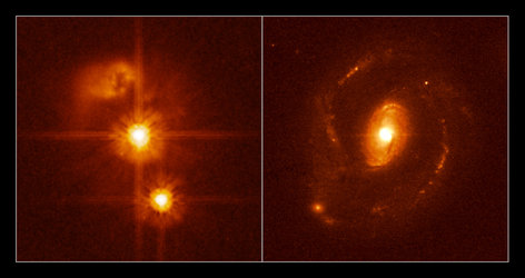 Two Hubble images from a sample of 20 nearby quasars