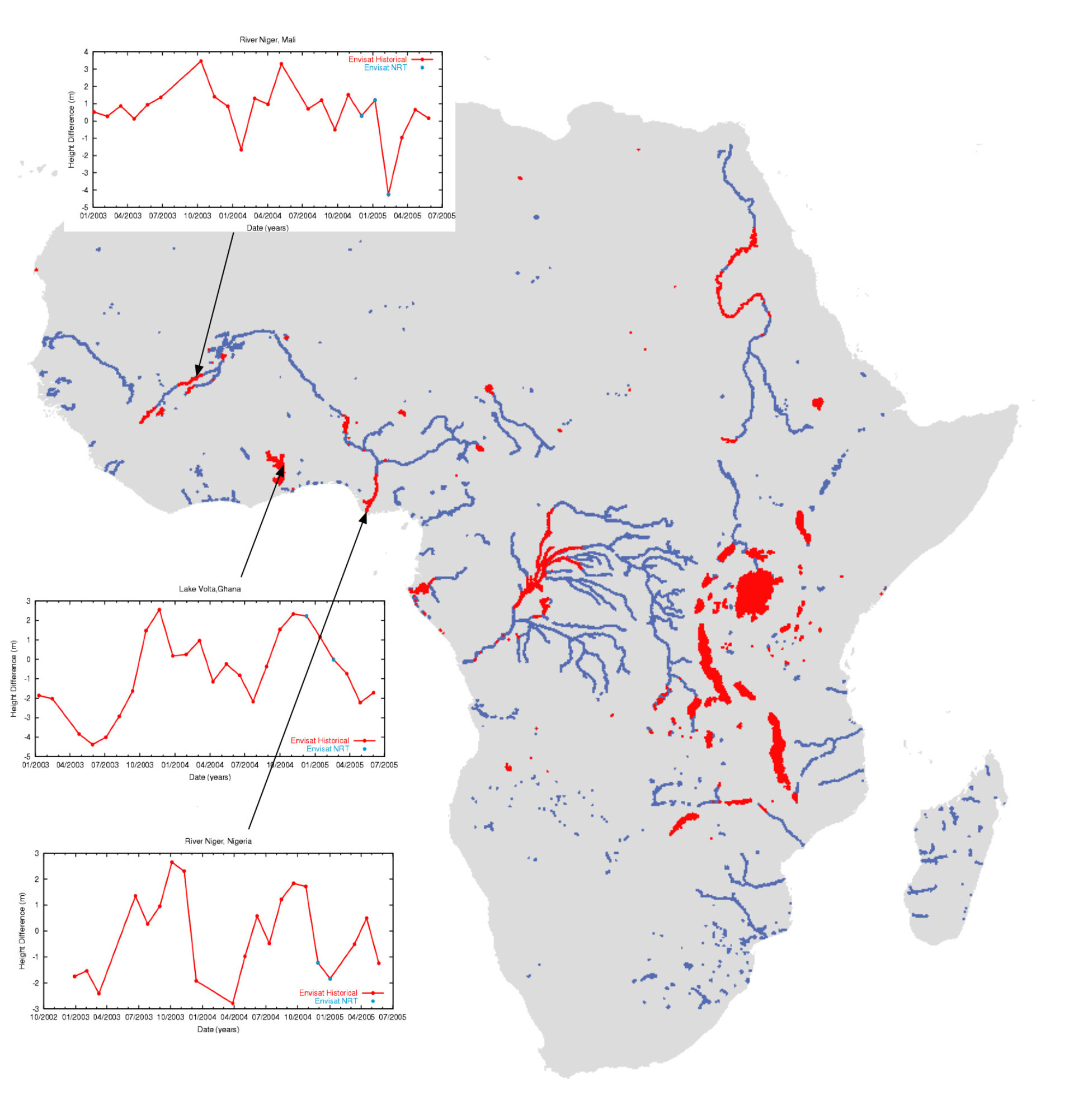 Altimetry-derived rivers and lake levels