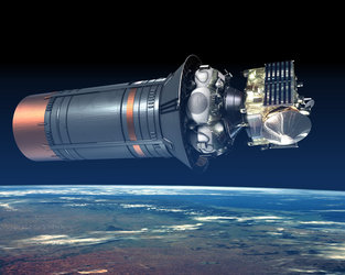 Artist's impression of  Fregat/Venus Express on the Soyuz third stage