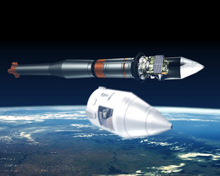 Artist's impression of Soyuz-Fregat rocket during launch, at fairing jettison
