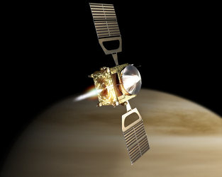 Artist's impression of Venus Express orbit insertion