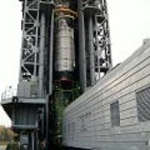 CryoSat's upper composite is lifted on top of the tower
