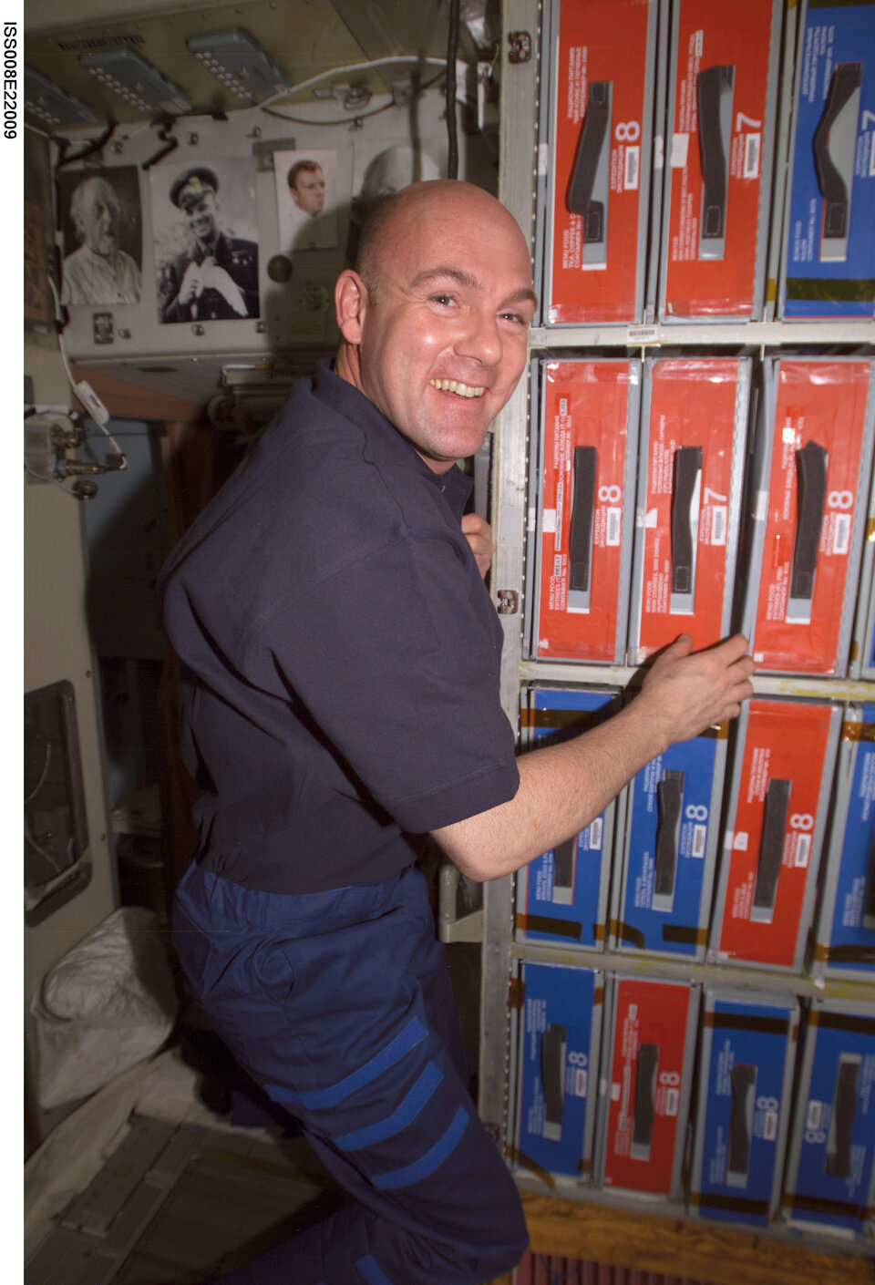 Dutch ESA Astronaut André Kuipers in the ISS larder