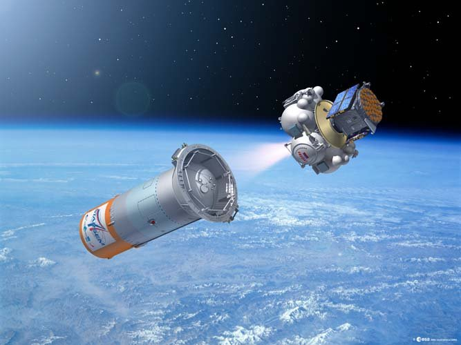 GSTB-V2/A launch - satellite/Fregat composite separates from Soyuz third stage