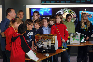 Philippe Willekens speaks to the pupils at Space Expo