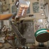 Space food floating through the ISS