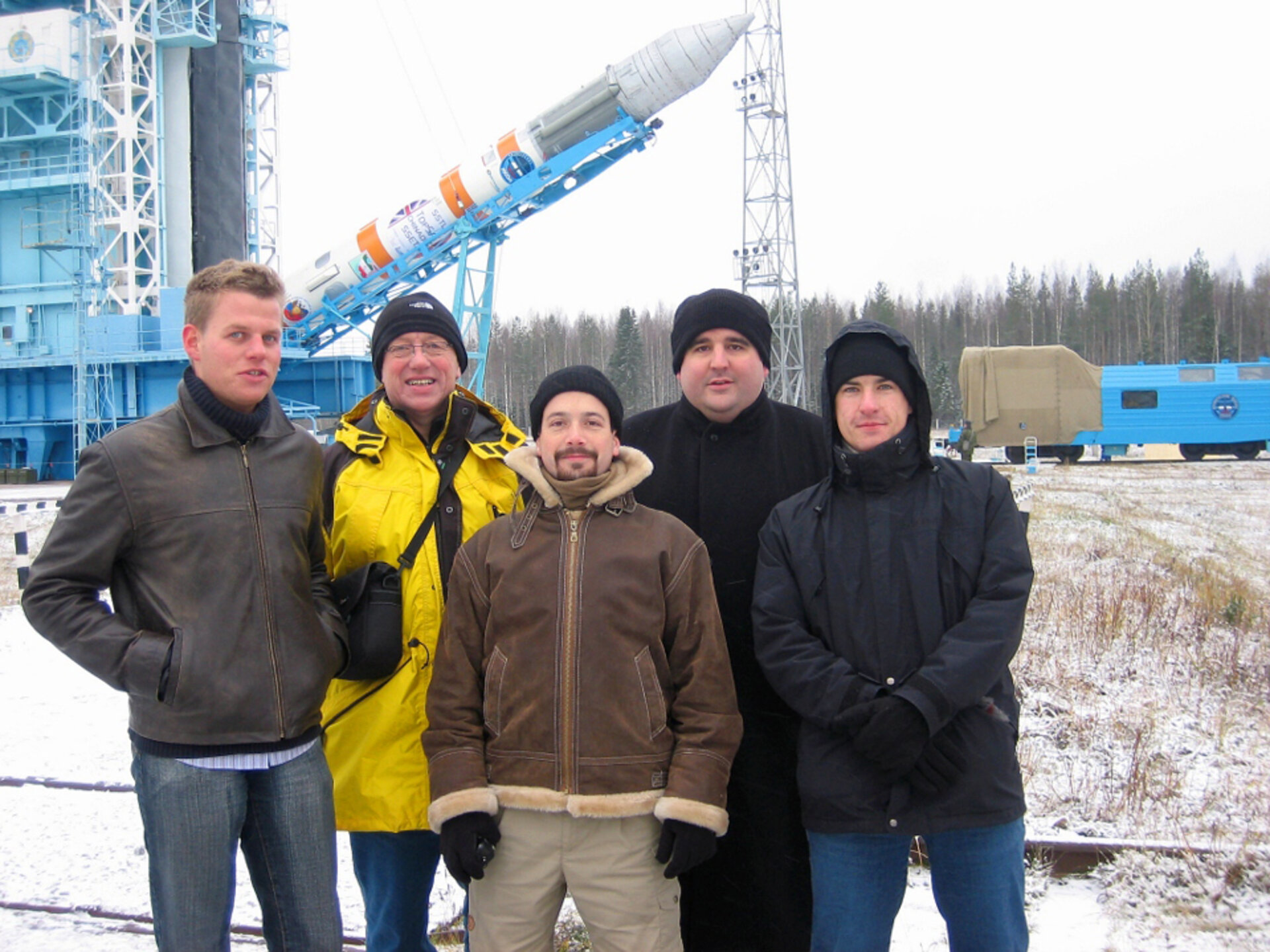 The team during the rocket erection