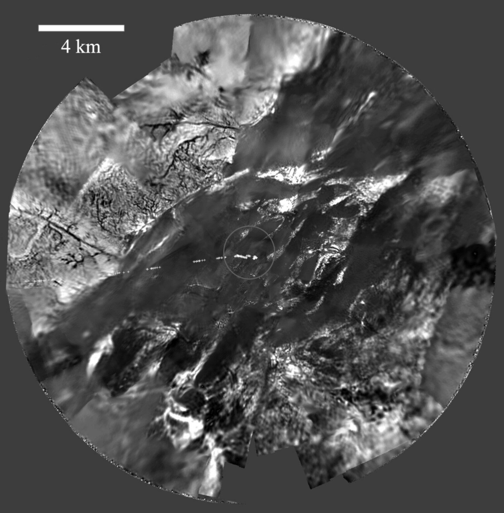 DISR view of Titan's surface from 8 kilometres altitude