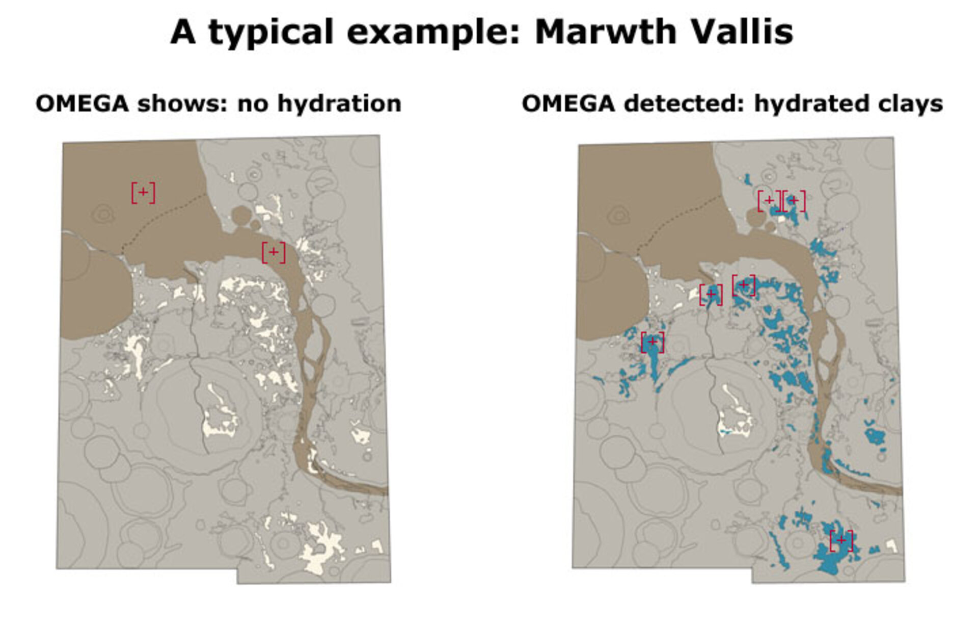 In Marwth Vallis, OMEGA shows no hydration (left); OMEGA detected hydrated clays (right)