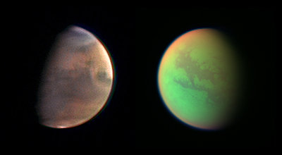Artistic composite of Mars (left) and Titan (right)