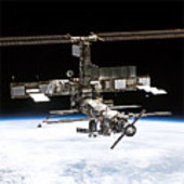 ISS from Discovery in July 2005