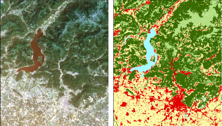 Satellite image and derived land use map for Lombardy, Italy