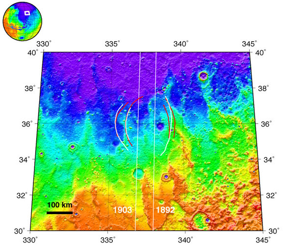 Topographic map of Chryse Planitia with location of possible buried basin