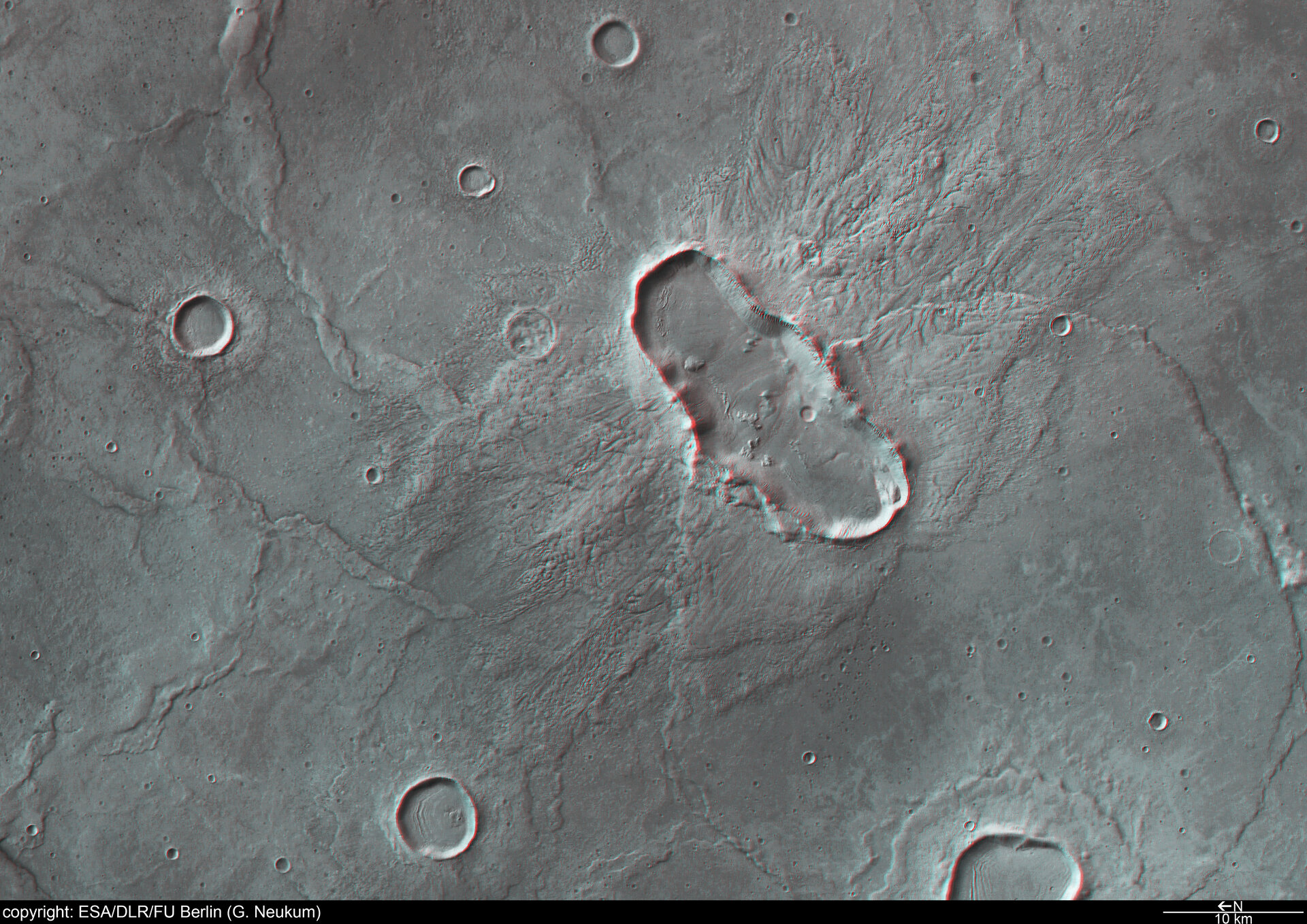 3D anaglyph view of Hesperia Planum