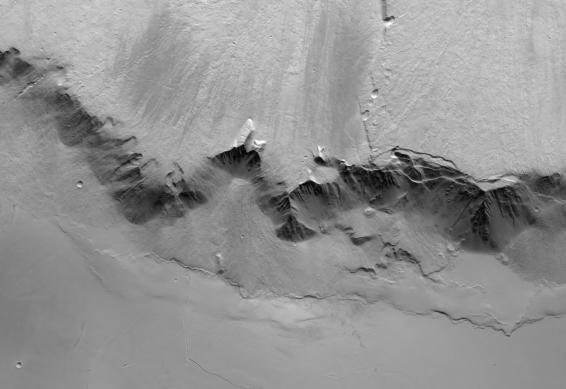 Black and white view of eastern scarp of Olympus Mons
