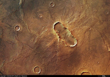 Colour view of 'butterfly'-shaped crater at Hesperia Planum
