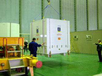 GIOVE-A arrives in  the Upper Composite Integration Facility
