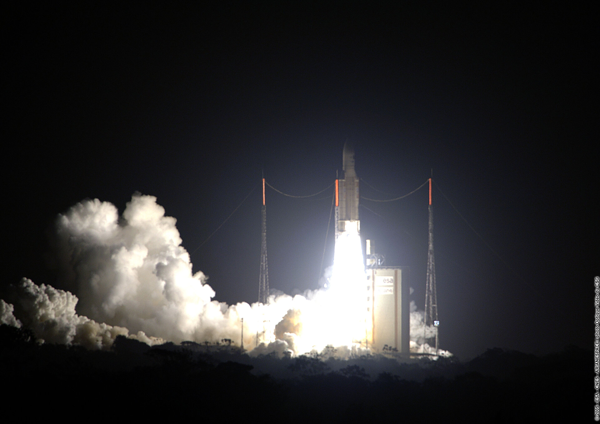 Liftoff of Ariane 5 carrying MSG-2