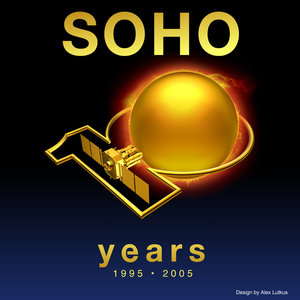 Logo for the tenth anniversary of SOHO's launch