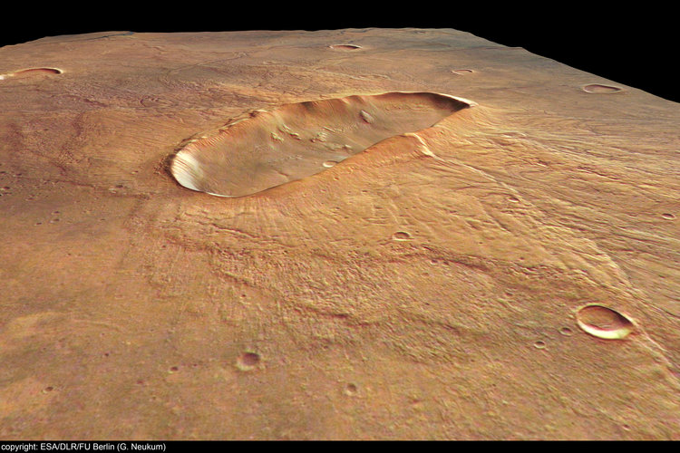 Perspective view of 'butterfly' crater - looking north