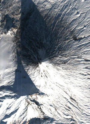 Proba observes the snow-dusted Kliuchevskoi volcano in Kamchatka Peninsula