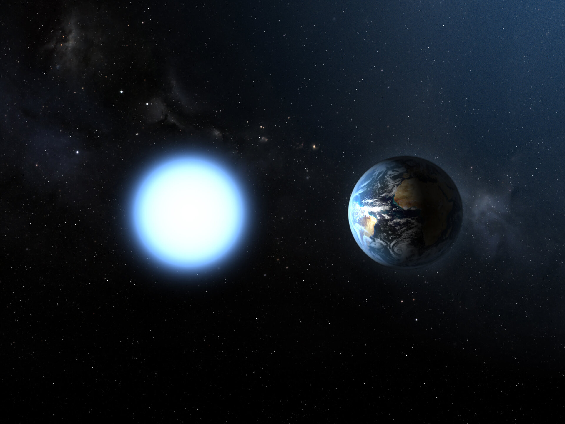 Sirius B compared to Earth