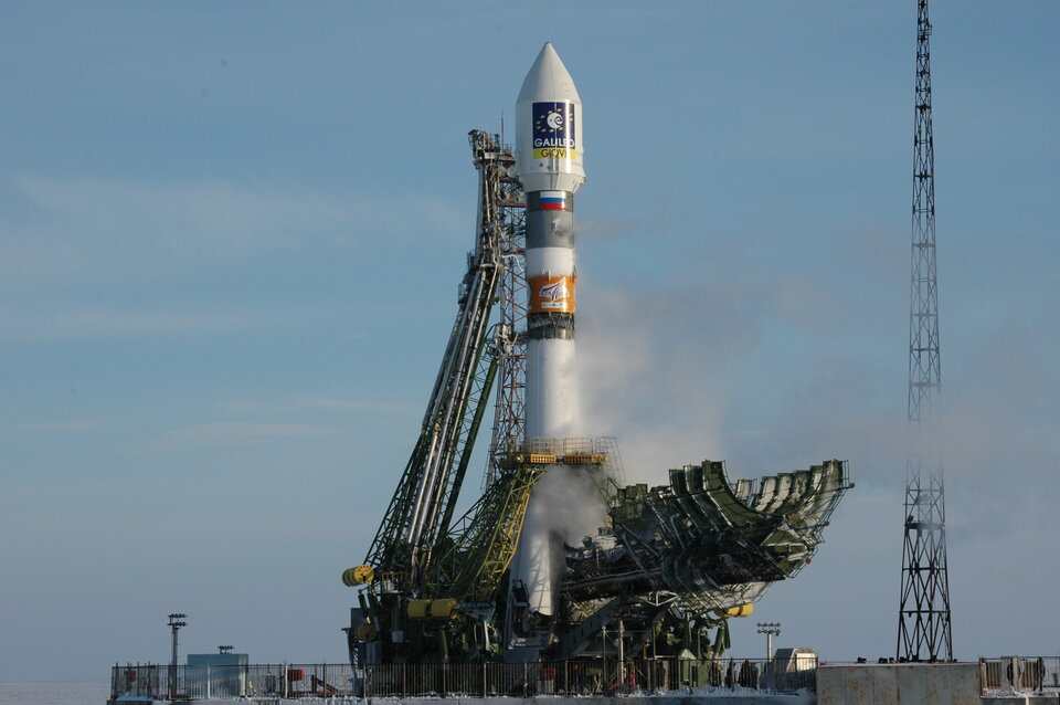Soyuz on the launch pad ready for lift off