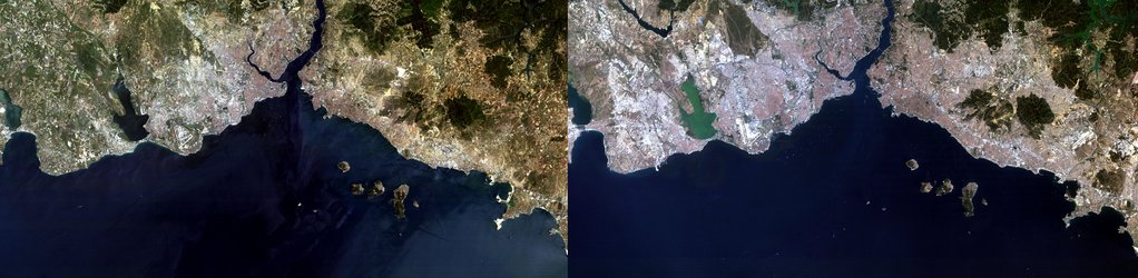 Two Landsat views of Istanbul, 20 years apart
