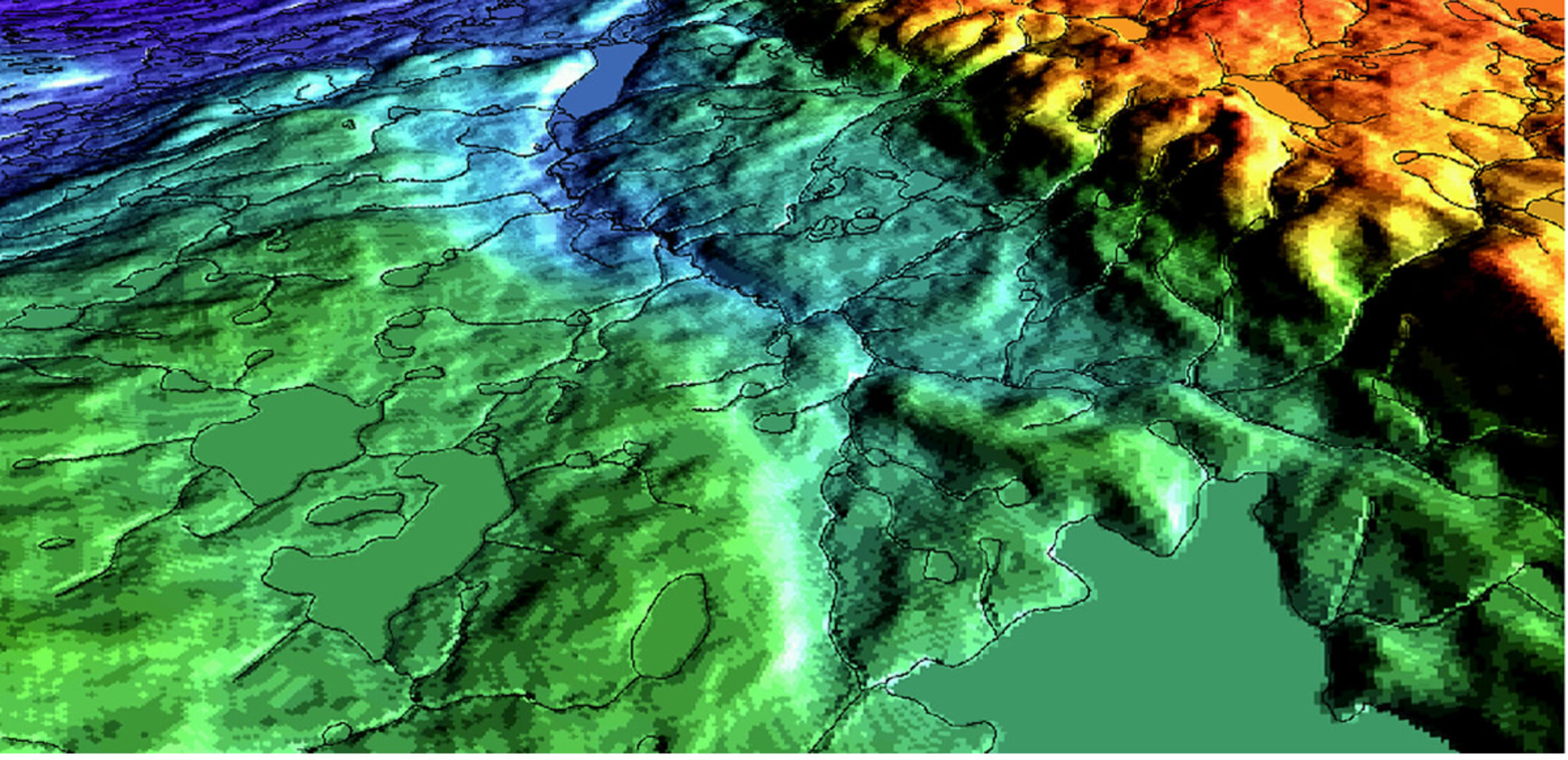 3D visualisation of InSAR derived elevation data on Baffin Island
