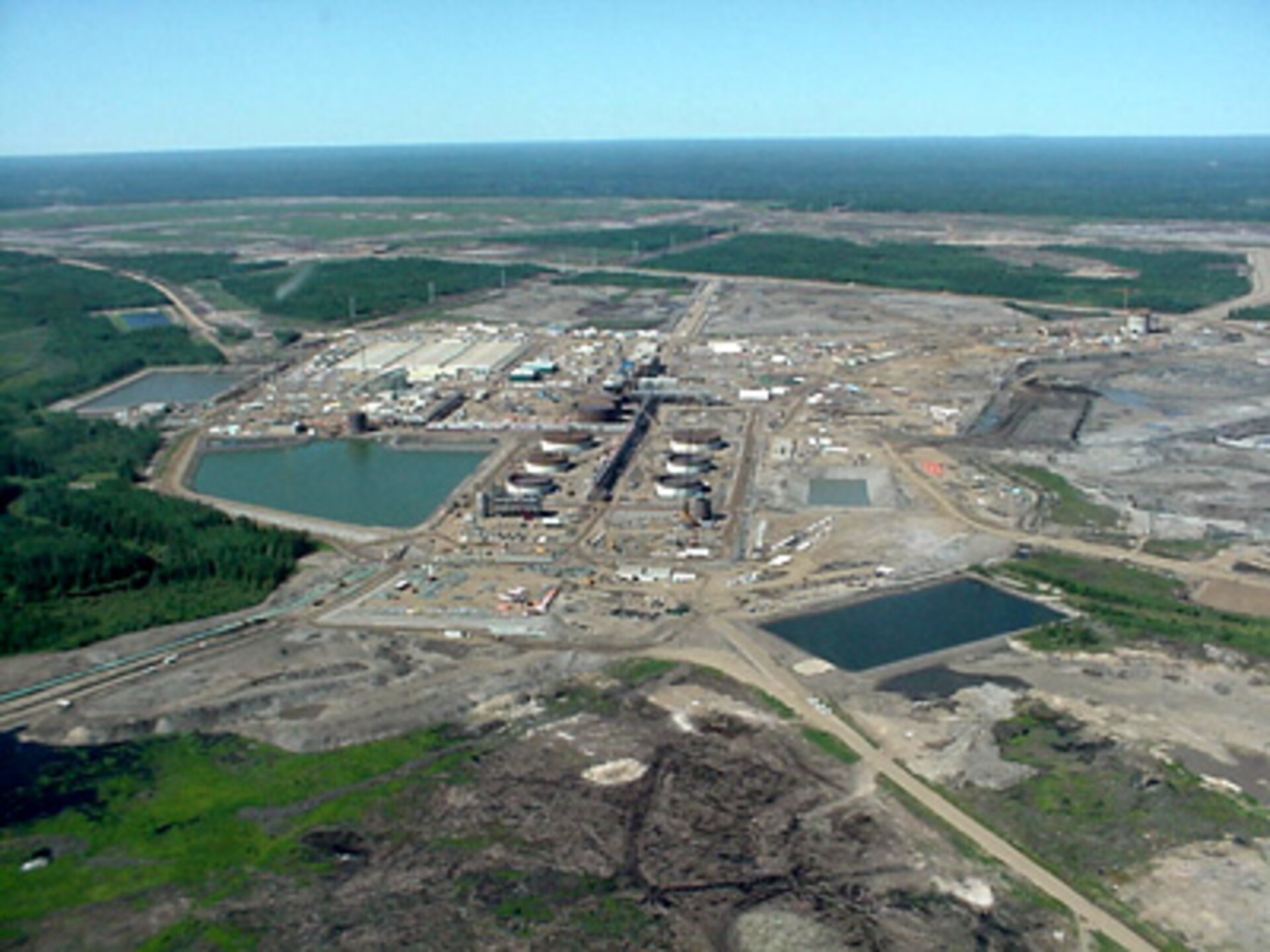 Aerial view of oil sands site