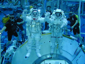 ESA astronaut André Kuipers and Frank de Winne during EVA training