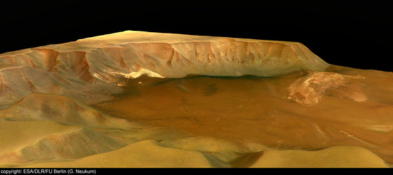 Perspective view of Juventae Chasma - looking north