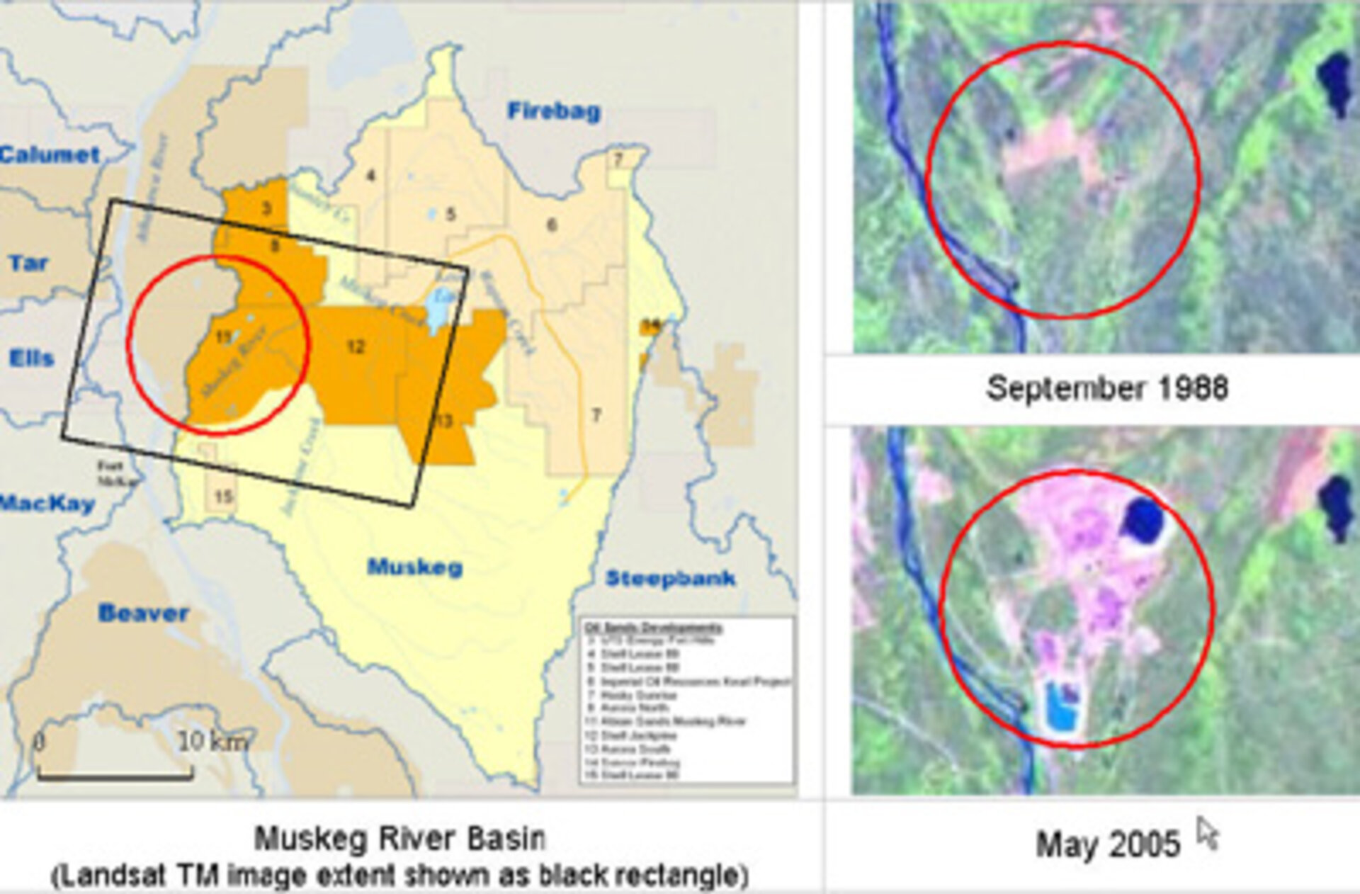 Satellite observations of the Muskeg River Basin