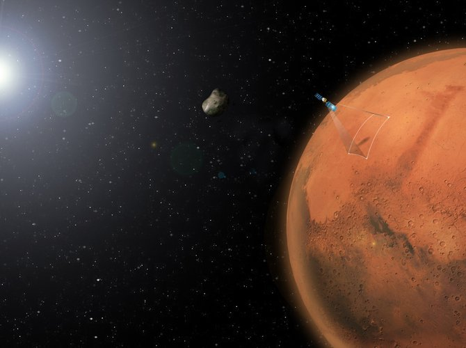 Artist's impression of Mars Express and Phobos