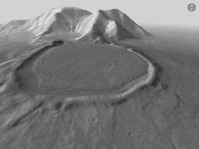 Black and white animated look at the 'hour glass' crater on Mars