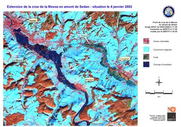 Satellite view of the Meuse River flood